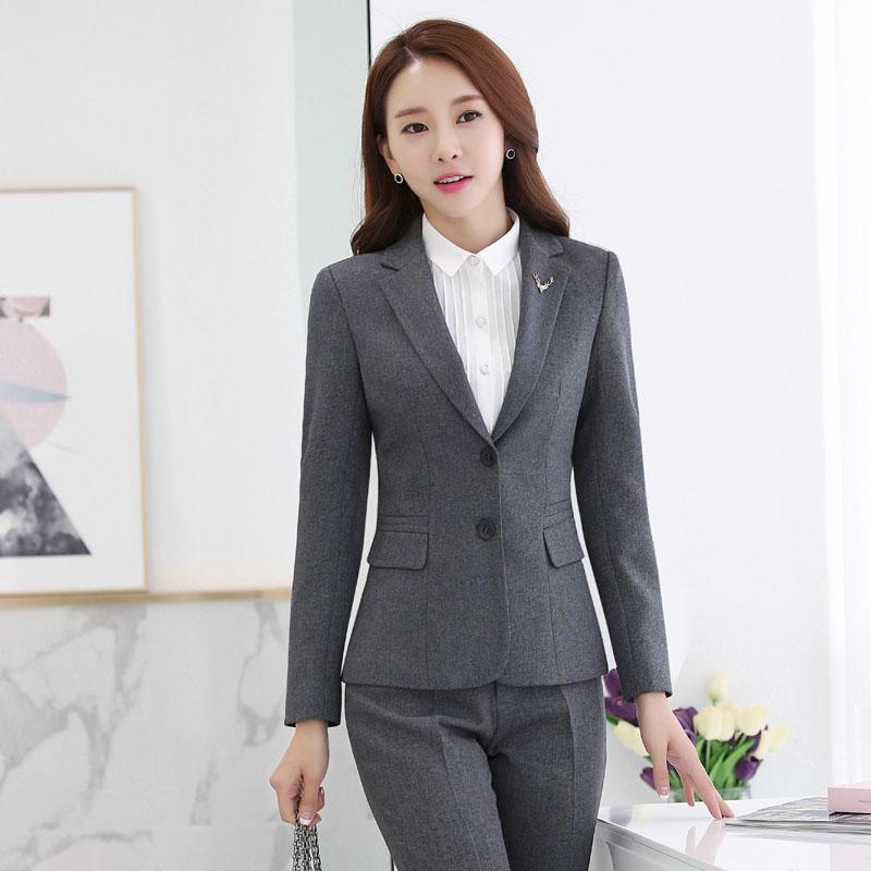 a9ac378c8c0aa4 Novelty Grey Long Sleeve Autumn Winter Formal Professional Business Women  Jackets & Coat Female Blazer Tops Outwear Uniforms-in Blazers from Women's  ...