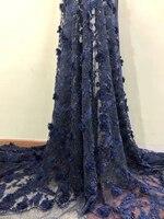 Высокое качество + бисер синий африканские ткани шнурка ASO EBI хороший французский чистая вышивка тюль кружевной ткани для Платье в нигерийск