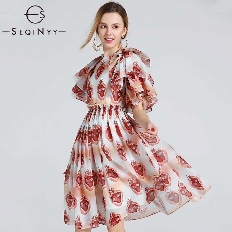 SEQINYY Ball Gown Dress Fashion Summer High Street Organza Short Flare Sleeve Ruffles Red Jewelry New