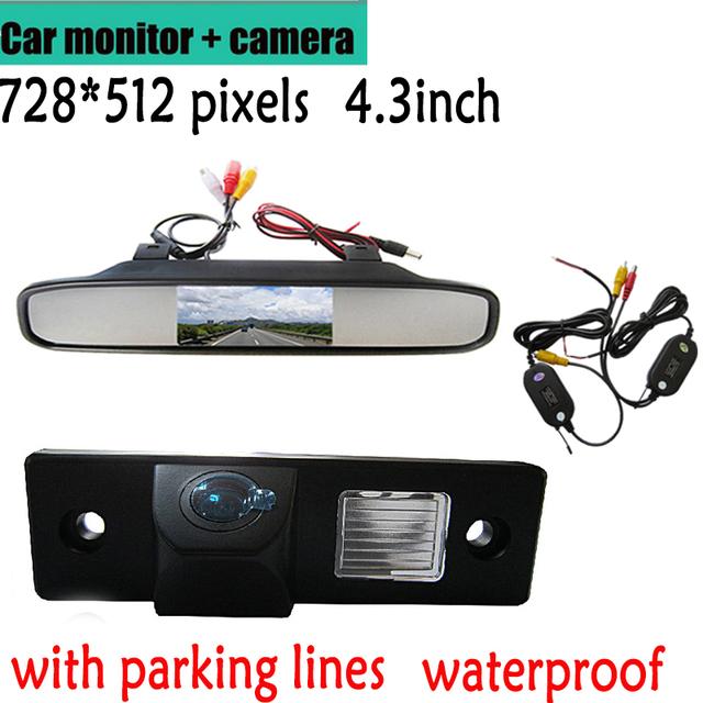 Wireless Color CCD Retrovisor Do Carro Da Câmera para CHEVROLET Epica Lova Aveo Captiva Cruze Matis Lacetti + Espelho retrovisor de 4.3 Polegadas Monitor de