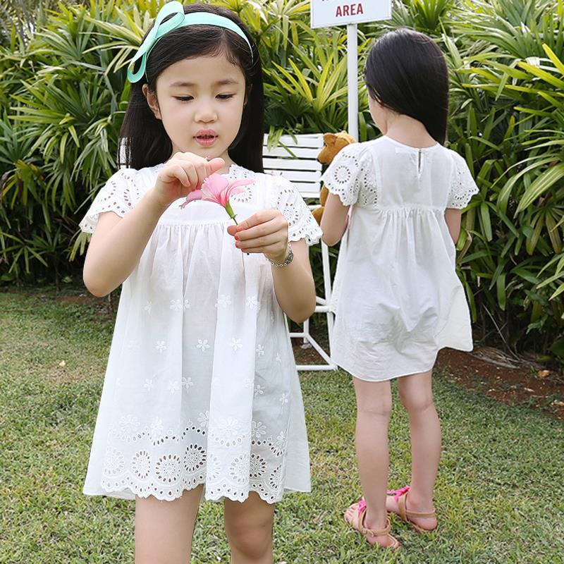 2018 new summer girls cotton lace embroidered dress kids clothes white lace  princess dress  cute mini dress for age 3 4 6 8 10
