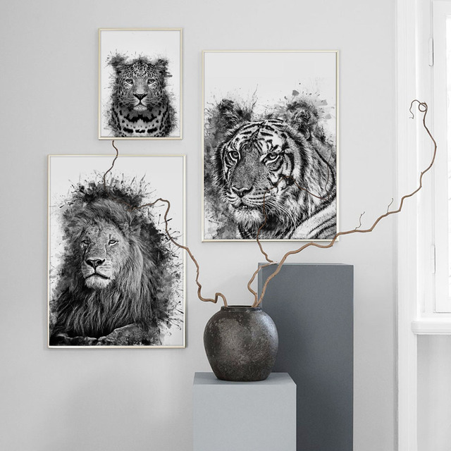 Lion Tiger Owl Zebra Wall Art Canvas Painting 1