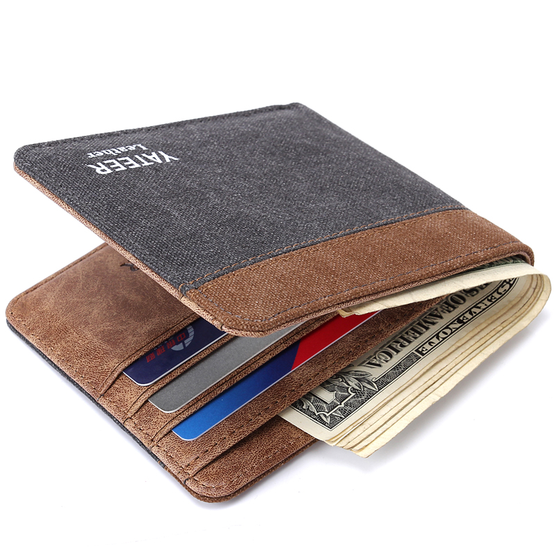 Man Short Wallet Casual Canvas Purse Pocket For Money Note Purses For Card Male Billeteras Carteira Portfel 123H
