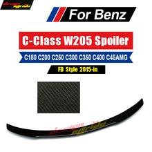 For Mercedes Benz W205 Spoiler FD Style Sedan C-Class W205 C63 C180 C200 C250 2-door Rear Spoiler Trunk Wing Carbon Fiber 15-18 цены онлайн
