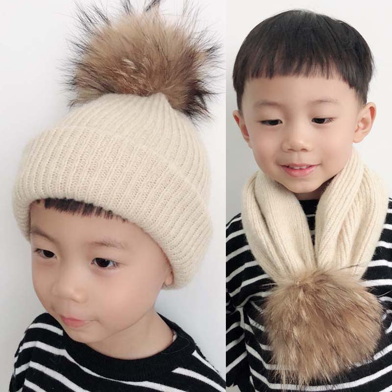 2019 Fashion Winter Beanie For Kids Wool Knitted Hat Scarf Real Fur pompom Knitted Hat Children in Men 39 s Skullies amp Beanies from Apparel Accessories