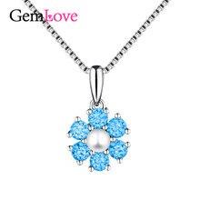 Gemlove 925 Flor de Plata Sterling Collar de Perlas Colgantes de Bisutería con Perlas para Las Mujeres Caja Colier con Cadena 40% LN194(China (Mainland))