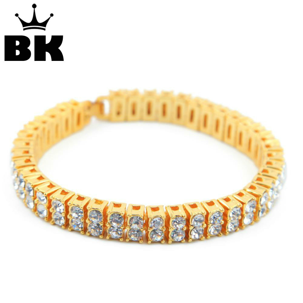 "2 Row Crystal Iced Out Men Lady Bling Tennis Indah HipHop Bracelet 8 ""gelang punk"