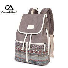 Canvasartisan Top Quality Womens Canvas Backpacks Bag for Youth Female School Bookbags Ethnic Style Laptop Travel Backpack Bags