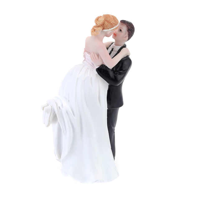 Romantic Figurine Bride Groom Hug For Wedding Cake Toppers Decoration Decor Topper