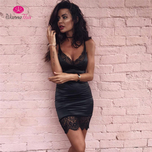 WannaThis 2017 Summer Dress Women Sexy Bodycon Lace Dress Solid Sleeveless Halter Party Dresses Robe Femme Vestidos De Renda