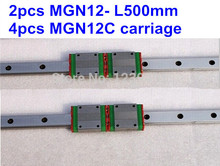 цена на 2pcs MGN12 L500mm linear rail + 4pcs MGN12C carriage