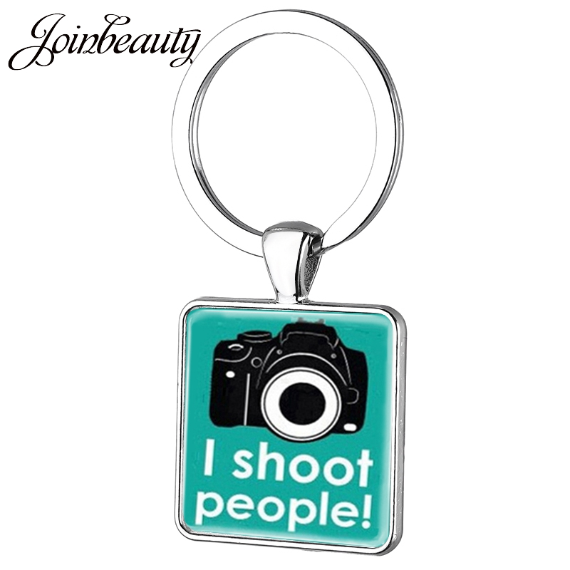 JOINBEAUTY  Camera Square Keychain Men Women Photographer Jewelry I Shoot People Photography Pendant Key Chain Ring Holder AA65