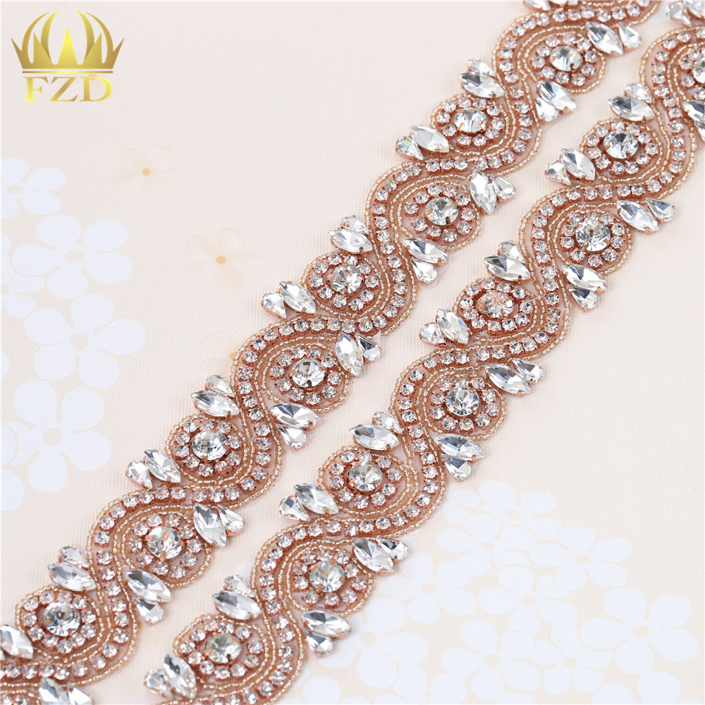 (10yards) Wholesale Handmade Sew On Hot Fix Rose Gold Beaded Rhinestone  Trim Applique for. Mouse over to zoom in 7e81dff75c57