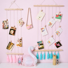 Nordic DIY Wooden Storage Rack Creative Wall Hanging Multifunction Photos Postcard Display Home Decorative Wood Linen Rope Shelf