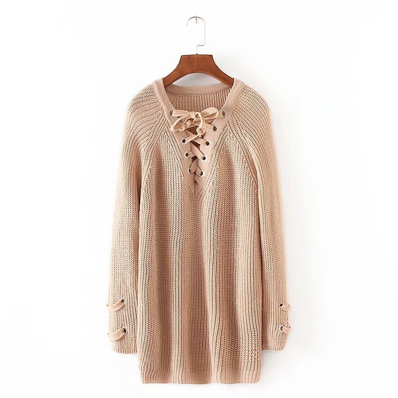 Lace Up V neck Sweater Women Casual Long Pullovers Knitted Full Sleeve Feeme Sueter Autumn Winter Jumpers in Pullovers from Women 39 s Clothing