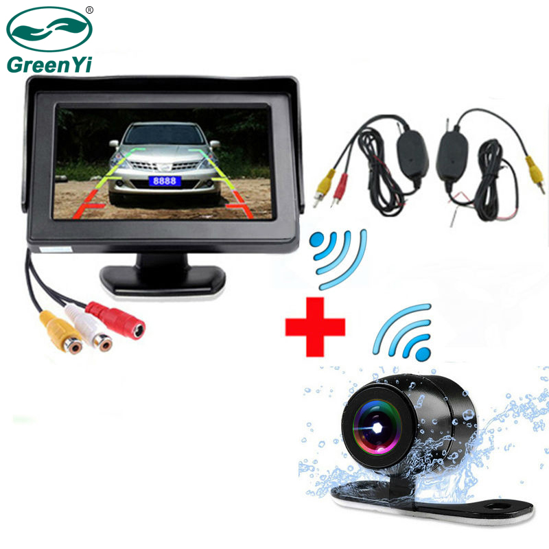 GreenYi Car 4 3Inch TFT LCD Color Monitor with Waterprtoof Rearview Camera and 2 4Ghz Wireless