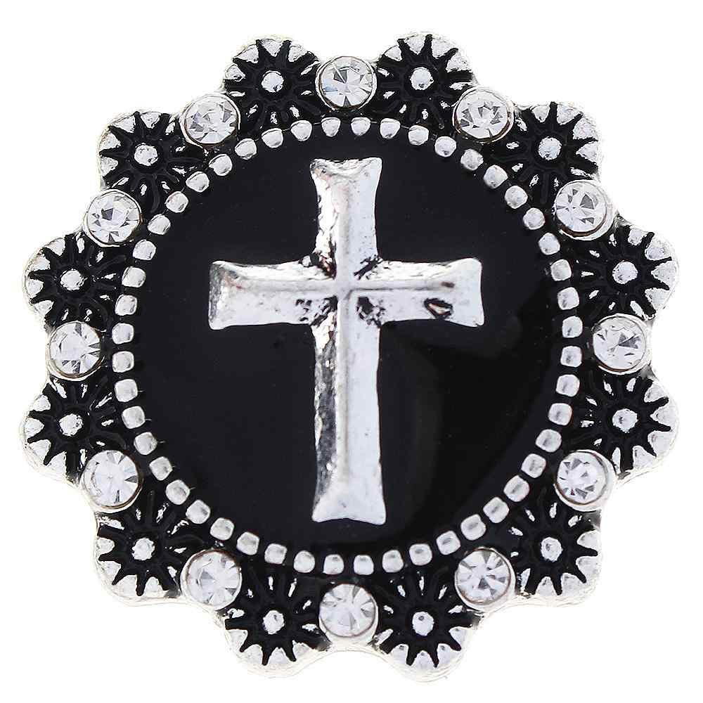 JaynaLee 20mm Black Enamel and Cross Ginger Snap Charm Fit Snaps Interchangeable Jewelry for women men gifts GJS1037