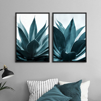 Tropical Plants Painting Blue Green Modern Home Decor 3 Piece Canvas Art Nordic Poster Photography Art