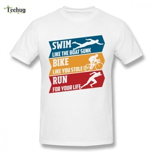 Triathlon Runnings Swimmings Cycle Silhouette Decor Clothes Custom For Man Funny Top Design 100% Cotton Camiseta Boy