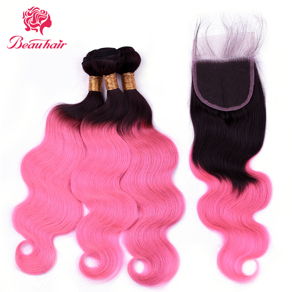 Beau Hair Ombre Brazilian Body Wave Human Hair Bundles with Lace Closure Non-Remy Hair Weave 3 Bundles with Closure 1bpink