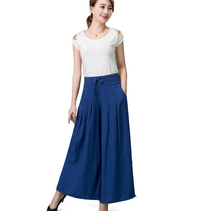 2016 New Spring Summer elastic waist national cotton   wide     leg     pants   culottes plus size casual trousers BL1477