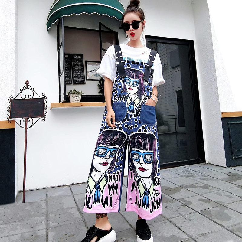 TREND Setter 2018 Autumn Casual Funny Girl Graffiti Jumpsuit Women Hip Hop Loose