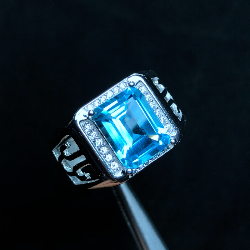 天然トパーズ男性のリング、 925 シルバー、絶妙な技能、古典的な正方形の宝石、美しい色  グループ上の ジュエリー & アクセサリー からの 指輪 の中 3