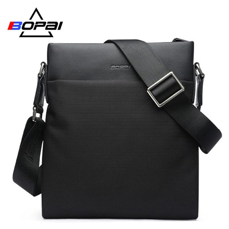 BOPAI Brand Messenger Bag Shoulder Soft Natural Crossbody Bag Vintage Men Messenger Bags Male Fashion Travel