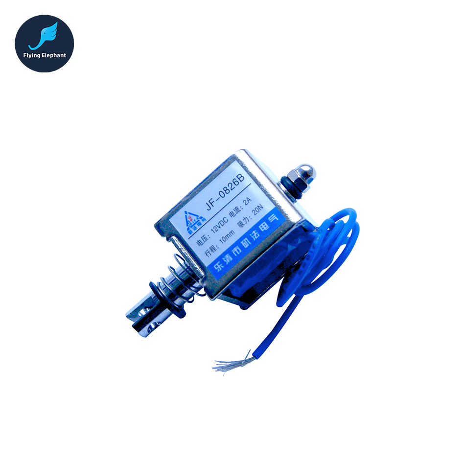 цена на JF-0826B DC 12V or 24V Push Type Open Frame Linear DC Solenoid Electromagnet Suction 150g 10mm 2A 15N Holding