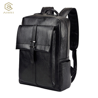 AHRI NEW Fashion Boy Men Business Casual USB Preppy Backpack for School Soft Black PU Leather Male Shoulder Bags Men's Backpack