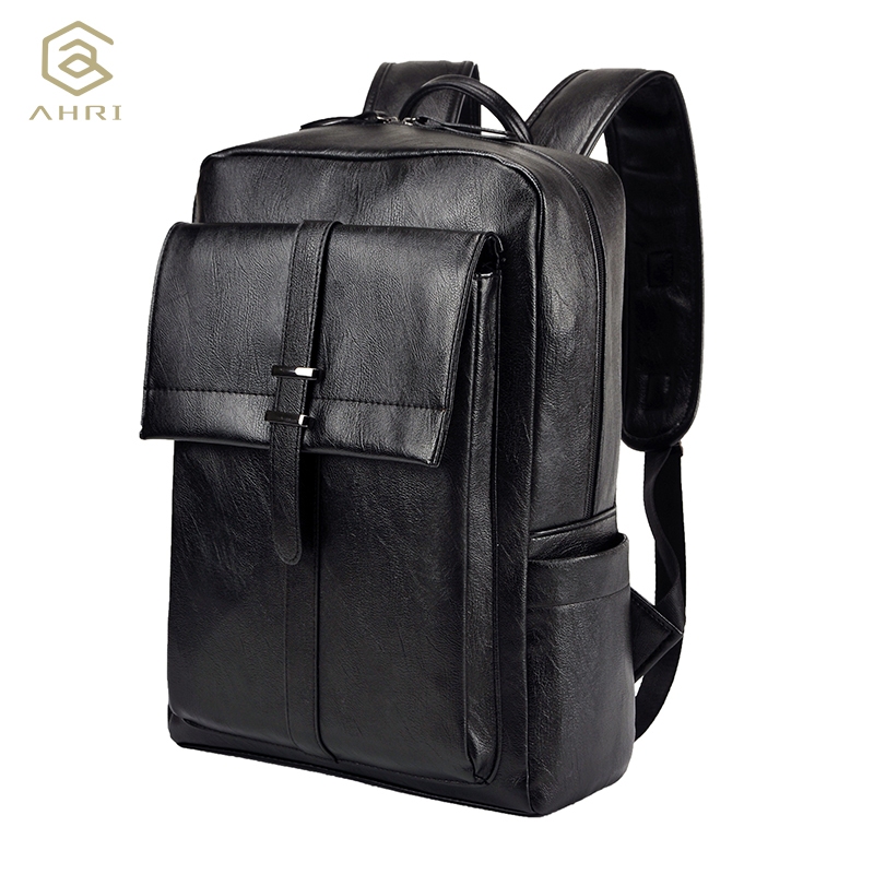 AHRI NEW Fashion Boy Men Business Casual USB Preppy Backpack for School Soft Black PU Leather Male Shoulder Bags Men's Backpack