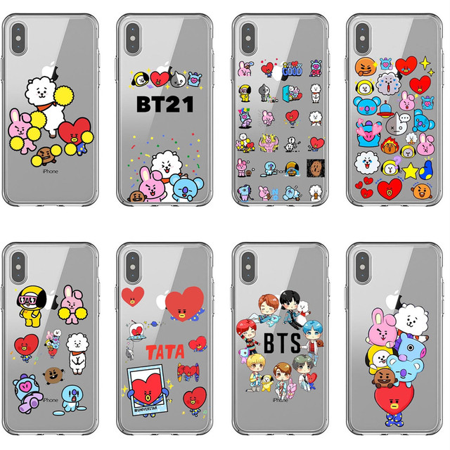 best service 995ac 11dd5 US $1.34 21% OFF|Brand BTS Cute cartoon BT21 Silicone Phone Case For iPhone  X XS MAX XR Young Forever Cover For iPhone 5 5s SE 6 6SPlus 7 8 Plus-in ...
