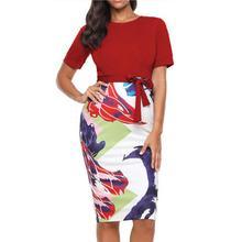 2019 New Yfashion Women Sexy Slim Round Collar Short Sleeve Printing Splicing Dress