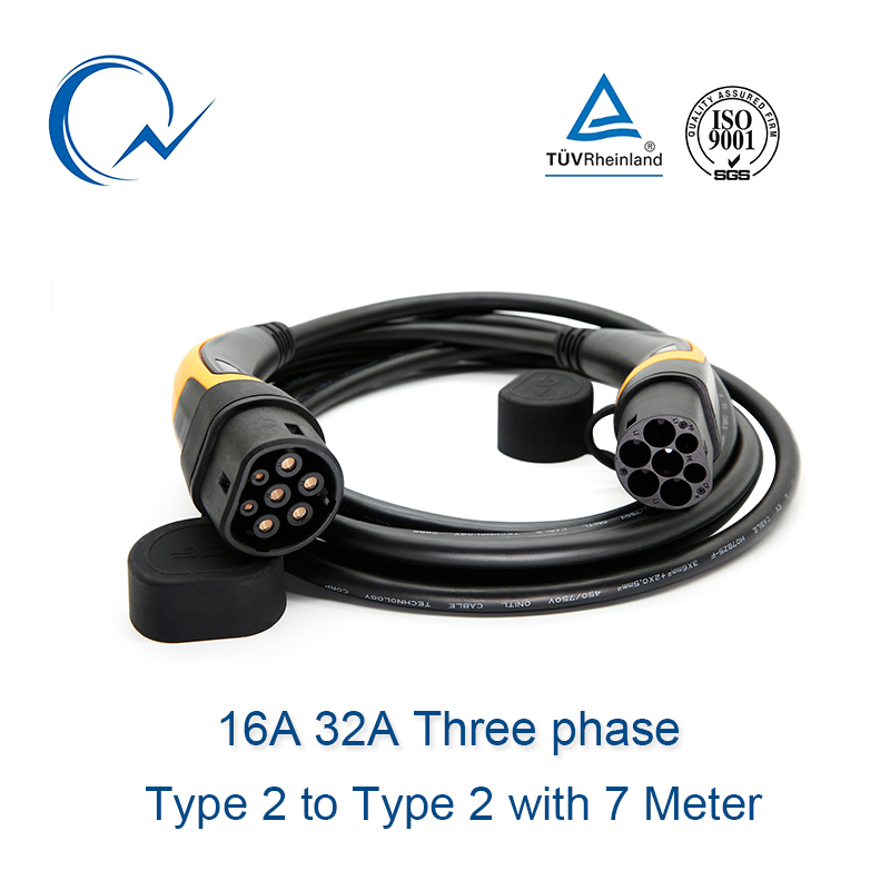 16A 32A Three phase EV Cable Type 2 to Type 2 IEC62196 EV Charging Plug With