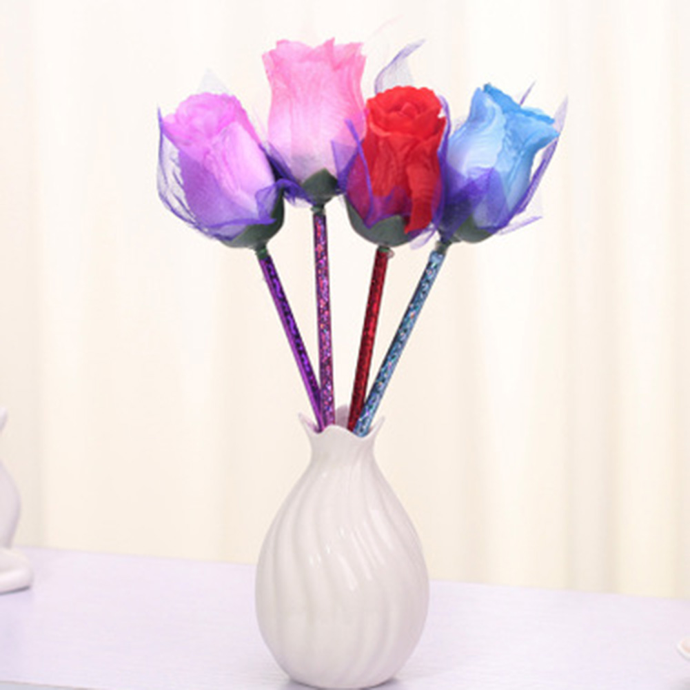1pcs New Artificial Flowers Rose Ball Pen Valentines Day Gift Gift Rose Decoration Desk Couple Ballpoint Pen To Have A Long Historical Standing Office & School Supplies