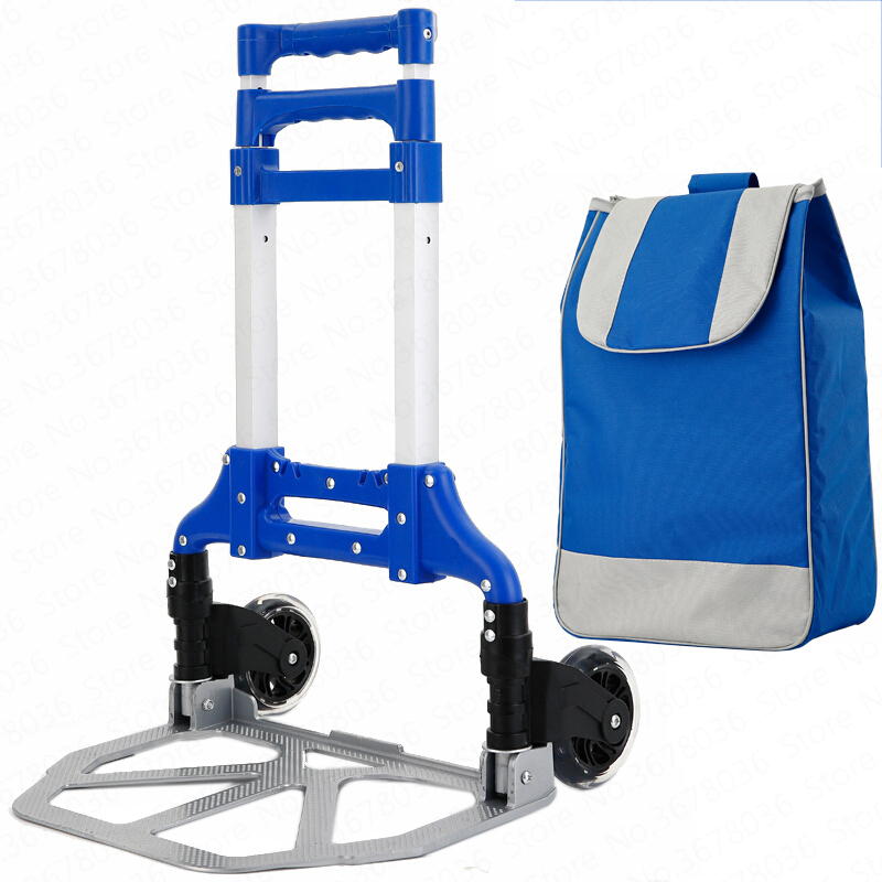 Luggage Cart Folding Portable Shopping Cart Travel Trolley Car Into The Truck Super Large Capacity Trolley Home