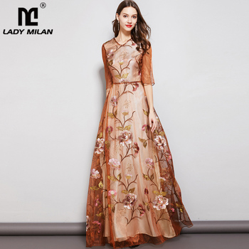 Lady Milan Luxury Women's Runway Designer Dresses  V Neck 3/4 Sleeves Embroidery Floral Organza Long Party Prom Elegant Dresses