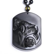 Black Obsidian Carving Wolf Head Obdidian Amulet pendant Jade Pendant necklace obsidian Blessing Lucky pendant Jade Jewelry obsidian necklace natural stone wolf head pendant buddha guardian ball chain carving amulet with obsidian blessing lucky jewelry