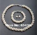 4 Colores Natural Sistemas de la Joyería de perlas de Agua Dulce Verdadera perla Collar Pendientes Pulsera de La Joyería para las mujeres