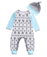 Newborn Baby Boys Girls Outfits Romper Jumpsuit+ Hat 2pcs Clothing Set unisex baby rompers long sleeve 2016 newborn clothing