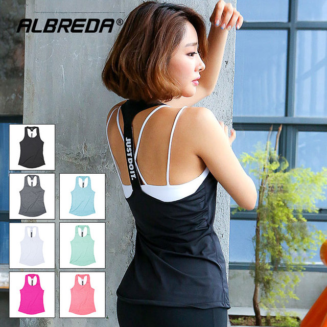ALBREDA Women yoga sport vest Professional sleeveless Quick Drying Fitness Running Tank Top Gym Yoga shirt fitness Vest 6 colors