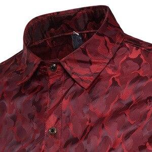 Image 4 - סגול הסוואה חולצה גברים 2018 חדש לגמרי חלק משי כותנה חולצות גברים מקרית Slim Fit ארוך שרוול תחתונית Homme Camisa