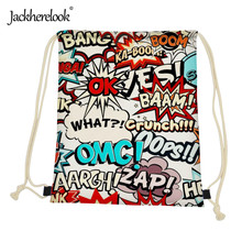 Jackherelook Fashion Graffiti Pattern Mini Girls Woman Travel Drawstring Bags Backpack Daily Canvas Shopping Storage Bag String