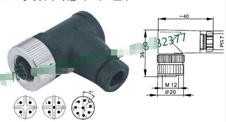 4pins Elbow M12 Sensor Connector Aviation Plug ac 500v 10a 10 pins aviation navigation connector coupler plug