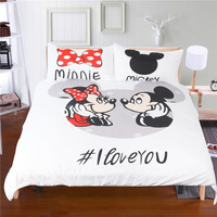 Disney Cartoon Bedding Mickey Mouse Mickey Minnie Duvet Casecase Full King Queen Twin White Soft Super Soft Bedding Set