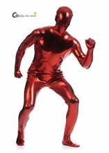 2017 Shiny Lycra Spandex Shiny Wine Red Mens Unitard Catsuits Metallic Footed Zipper Zentai Bodysuit