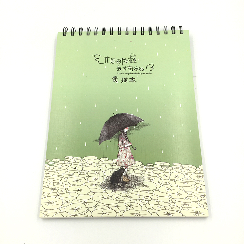 28*21CM Sketch Book Creative Trends Wait in the rain Cardboard Title page Spiral Sketch book Large Sheets Drawing paper creative flip book page led nightlight