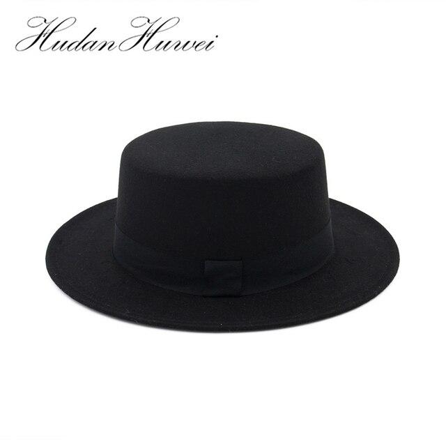 ba3bd3c94aaae Black Wide Brim Woolen Fedora Hats for Women Plain Flat Lady Felt Hats  Vintage European US Trilby Bowler hat