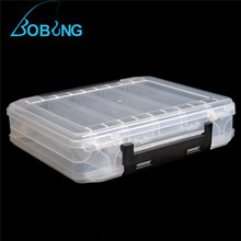 Bobing 200x17x4.8cm PVC Fishing Tackle Boxes Transparent Double Side Fisihng Lure Storage Case Box 10 Compartments
