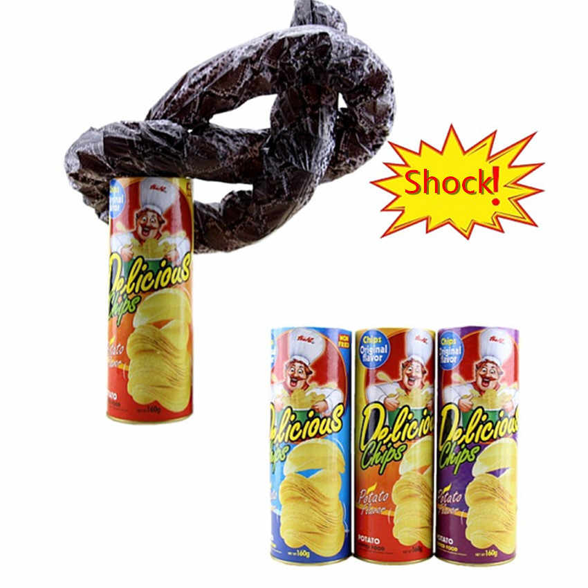 1PC Fun Joke Toy Funny Potato Chip Can Jump Spring Snake Toy Gift April Fool Day Halloween Party Decoration Prank Trick Props